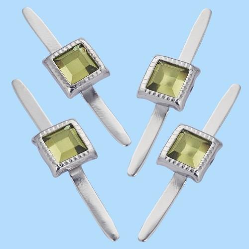 Decoratieve splitpennen, rechthoekig, buidel met 10 st, groen, 5 mm