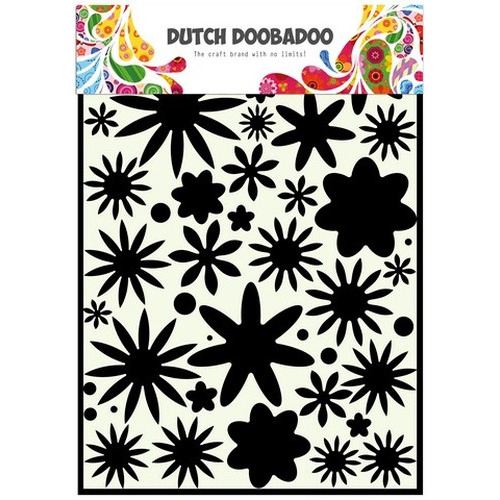 Dutch Doobadoo Dutch Mask Art stencil flower power 1   A4 470.715.800 (new 07-15)