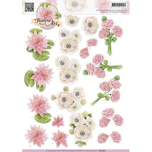 3D Knipvel - Jeanines Art - Wit roze bloemen
