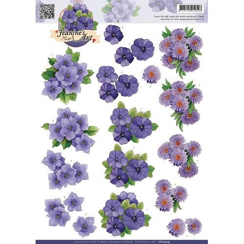 3D Knipvel - Jeanines Art - Paarse bloemen