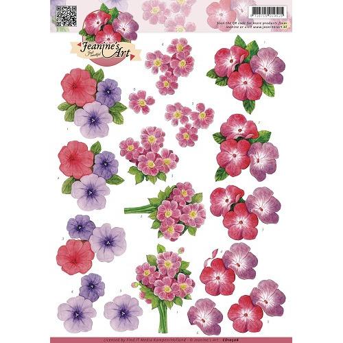 3D Knipvel - Jeanines Art - Roze paarse bloemen