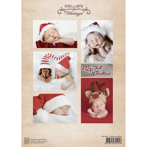 Decoupage sheet vintage Christmas babies