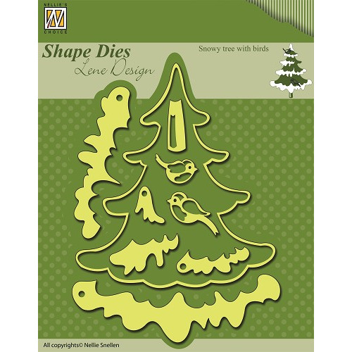 Shape Dies Christmas Snowy tree with birds