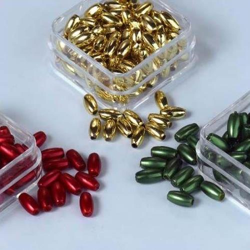 1 ST (1ST) Parelkraaltjes ovaal d.rood-groen-goud 6 mm