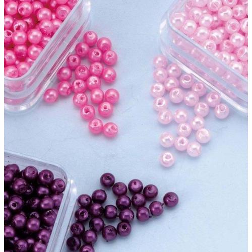 1 PK (1PK) Parelkraaltjes rond paars-roze-lichtroze 3 mm