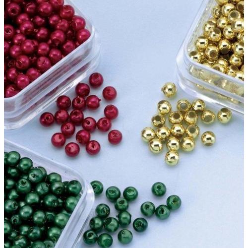 1 PK (1PK) Parelkraaltjes rond d.rood-groen-goud 3 mm