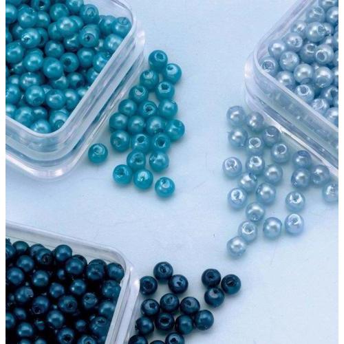 1 PK (1PK) Parelkraaltjes rond blauw-turkoois 3 mm
