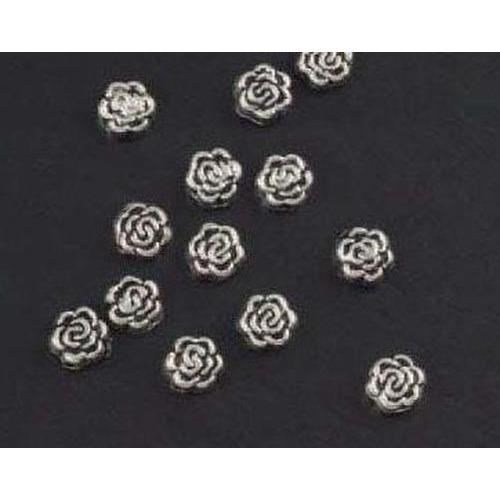 1 ST (1ST) Metalen kralen zilver roos 15 ST