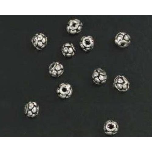 1 ST (1ST) Metalen kralen zilver rond fantasie 15 ST