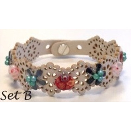 Lace flower - armbandset B incl lijm 12347-47SET B