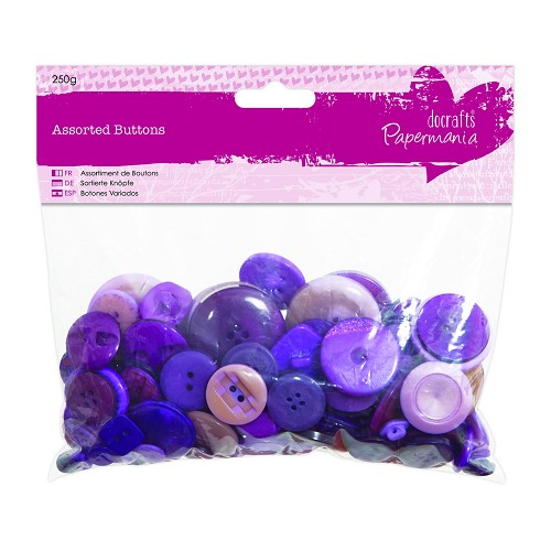 Assorted Buttons (250g) - Purple