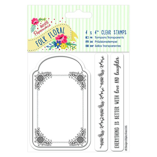 4 x 4 Clear Stamp (3pcs) - Folk Floral - Tag