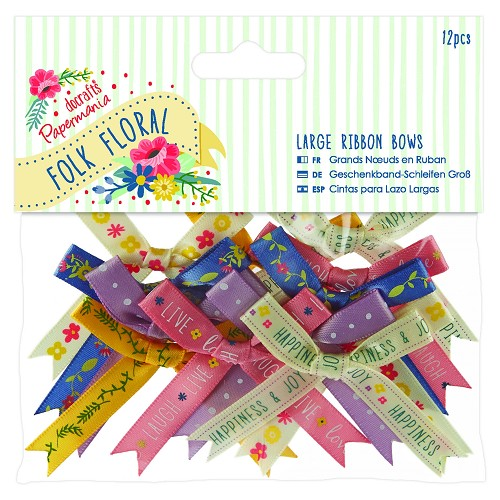 Large Ribbon Bows (12pcs) - Folk Floral