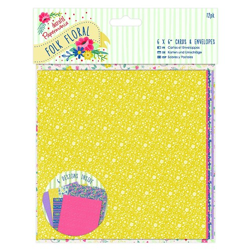 6 x 6 Cards & Envelopes (12pk) - Folk Floral