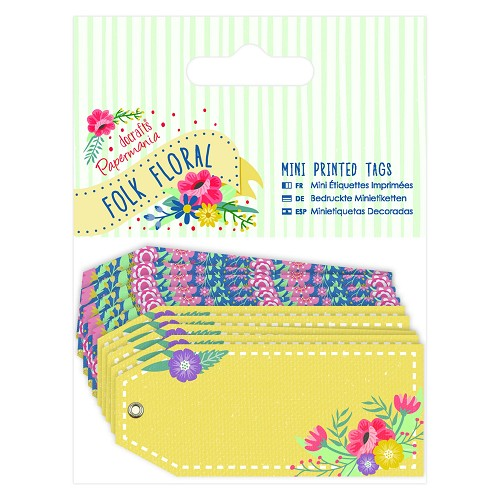 Mini Printed Tags (10pk) - Folk Floral
