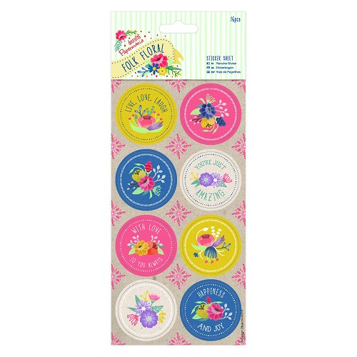Sticker Sheet (16pcs) - Folk Floral
