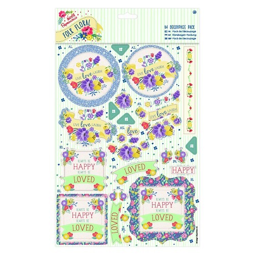 A4 Decoupage Pack - Folk Floral - Laugh