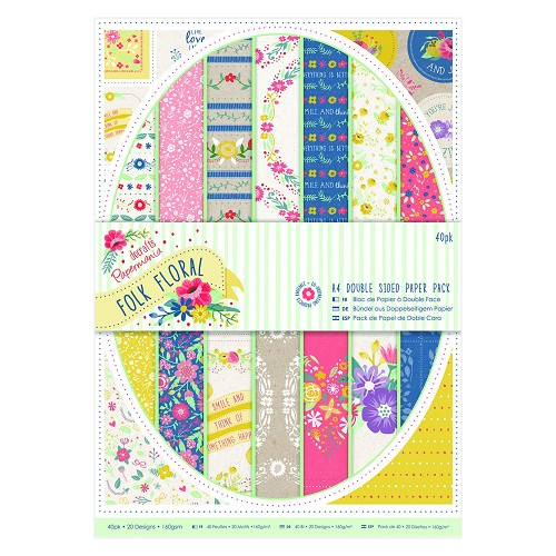 A4 Double sided Paper Pack (40pk) - Folk Floral