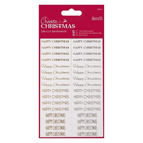 Die-cut Sentiments (32pcs) - Happy Christmas - Gold & White