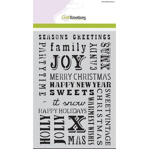 CraftEmotions Mask stencil - tekst UK A5 Sweet Vintage Christmas (08-15)