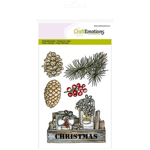 CraftEmotions clearstamps A6 - kistje decoraties Home for Christmas (08-15)