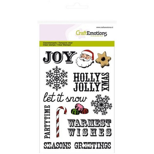 CraftEmotions clearstamps A6 - kersttekst UK, decoraties Sweet Vintage Christmas (08-15)