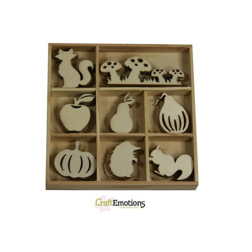 CraftEmotions Houten ornament - paddenstoel, vos, pompoen 40 pcs - Autumn Woods