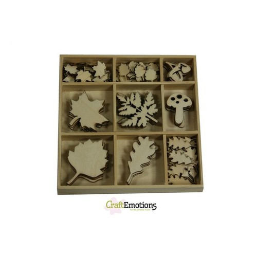 CraftEmotions Houten ornament - bladeren groot en klein 75 pcs - Autumn Woods