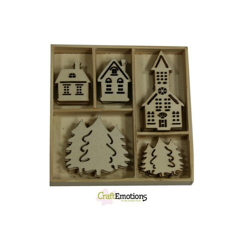 CraftEmotions Houten ornament - huisjes, kerk 25 pcs - Home for Christmas