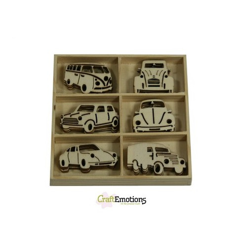 CraftEmotions Houten ornament - klassieke auto's 30 pcs - box 10,5x10,5cm