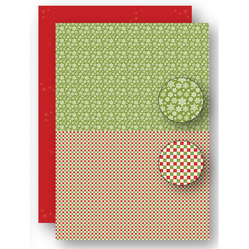 Background sheets doublesided Christmas green snowflakes