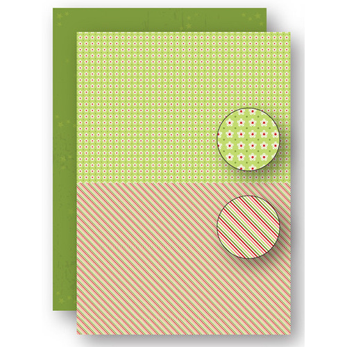 Background sheets doublesided Christmas green lines