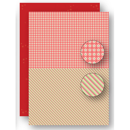 Background sheets doublesided Christmas red lines