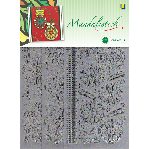 Mandalistick Peel-off`s Christmas Baubles 3-pack - Silver