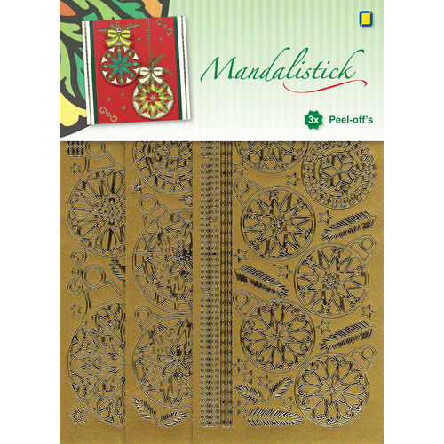 Mandalistick Peel-off`s Christmas Baubles 3-pack - Gold