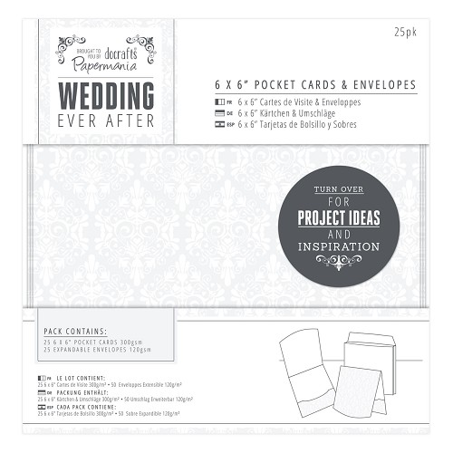 6 x 6 Pocket Cards & Envelopes (25pk) - Wedding - Damask