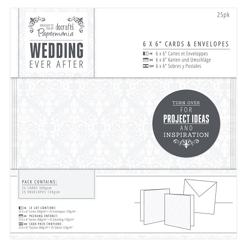 6 x 6 Cards & Envelopes (25pk) - Wedding - Damask