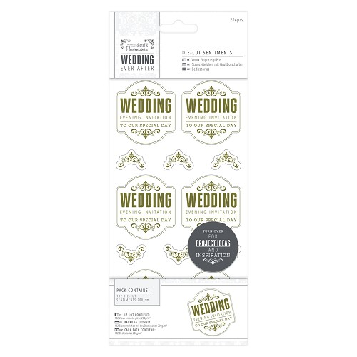4 x 8  Die-cut Sentiments (204pcs) - Wedding - EI Special/Gold/White