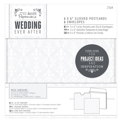 6 x 6 Sleeved Postcards & Envelopes (25pk) - Wedding - Damask