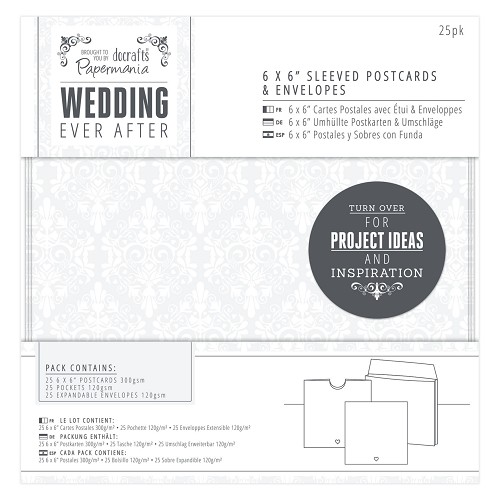 6 x 6 Sleeved Postcards & Envelopes (25pk) - Wedding - White Heart