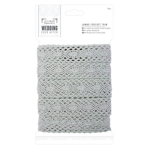 10m Jumbo Crochet Trim - Wedding - Silver