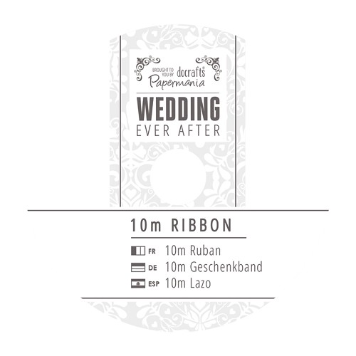 10m Printed Satin Ribbon - Wedding - Dark Grey
