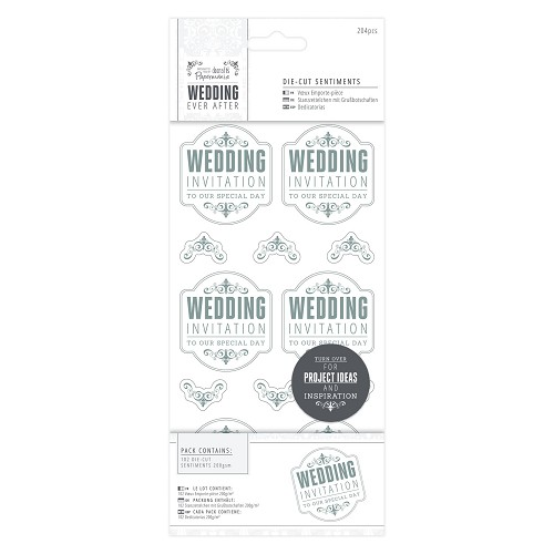 4 x 8  Die-cut Sentiments (204pcs) - Wedding - WI Special/Silver/White