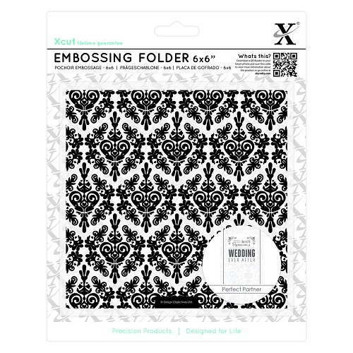 6 x 6 Embossing Folder - Damask Background
