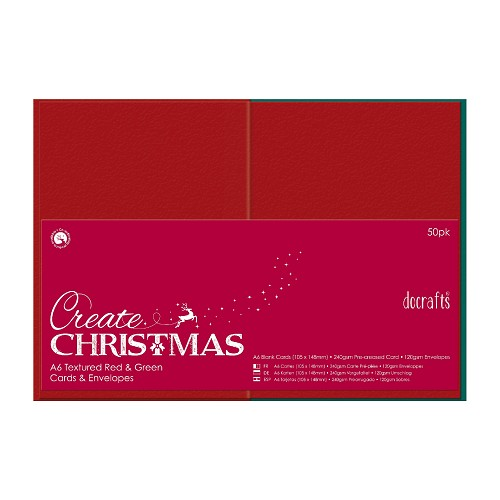A6 Cards/Envelopes Textured (50pk, 240gsm) - Red & Green