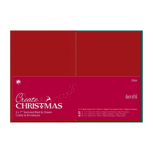 5 x 7 Cards/Envelopes Textured (20pk, 240gsm) - Red & Green