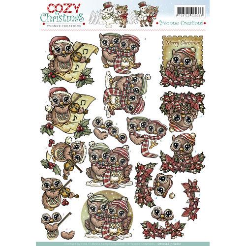 3D Knipvel - Yvonne Creations - Cozy Christmas - Xmas Owls