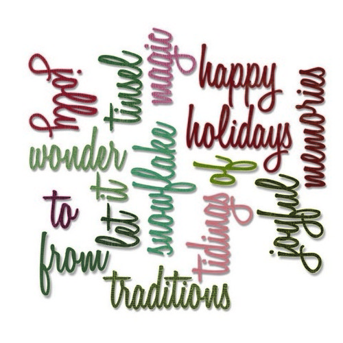 Sizzix® Thinlits™ Die Set 16PK - Holiday Words: Script 660977 Tim Holtz - (new 09-15)