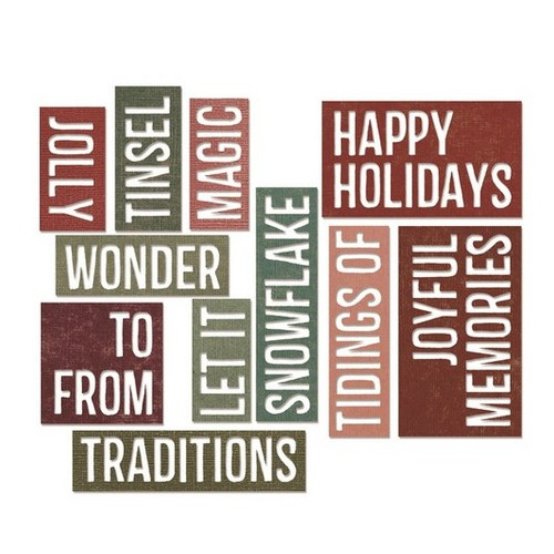 Sizzix® Thinlits™ Die Set 16PK - Holiday Words: Block 660976 Tim Holtz - (new 09-15)