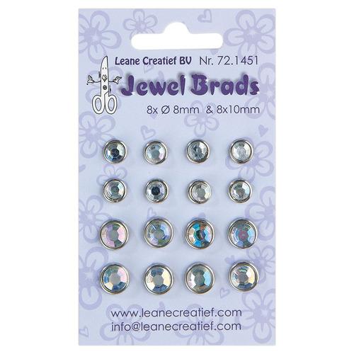 Jewel brads chrystal 8x 6mm. & 8x 8mm.